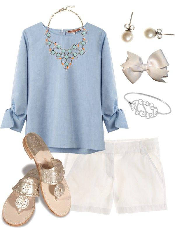 Periwinkle blouse, white linen shorts, jacks, monogrammed bracelet, post earrings, and a bow.