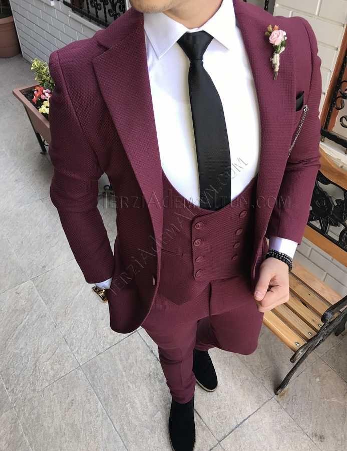 Terziademaltun Italyan Stil Erkek Ceket Yelek Pantolon Bordo Takim Elbise T2428 Takim Elbise Blazer Ceket Elbise