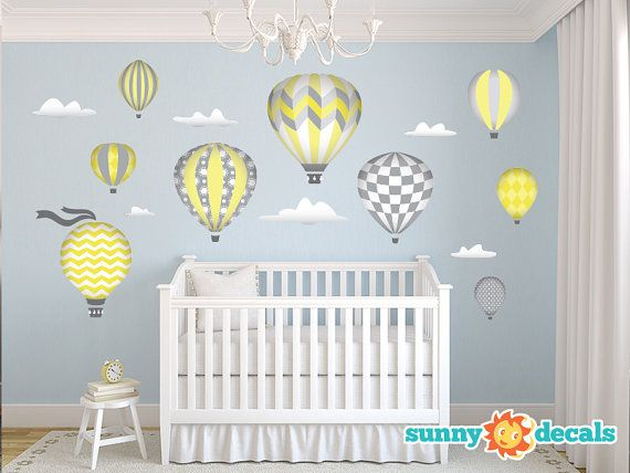 Hot Air Balloons Fabric Wall Decals with 9 Hot Air Balloons and 6 Clouds -  Yellow - Jumbo Sized - Available in 5 Color Options and 2 Sizes