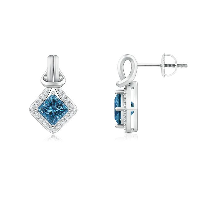 Angara Emerald-Cut Aquamarine Stud Earrings in Platinum HGauC27jEl