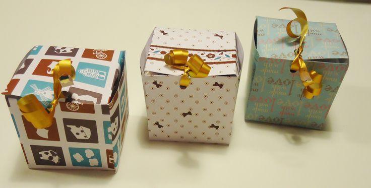 DIY kleine vierkanten doosjes uit papier; Ook handig om een cupcake'je in cadeau te doen