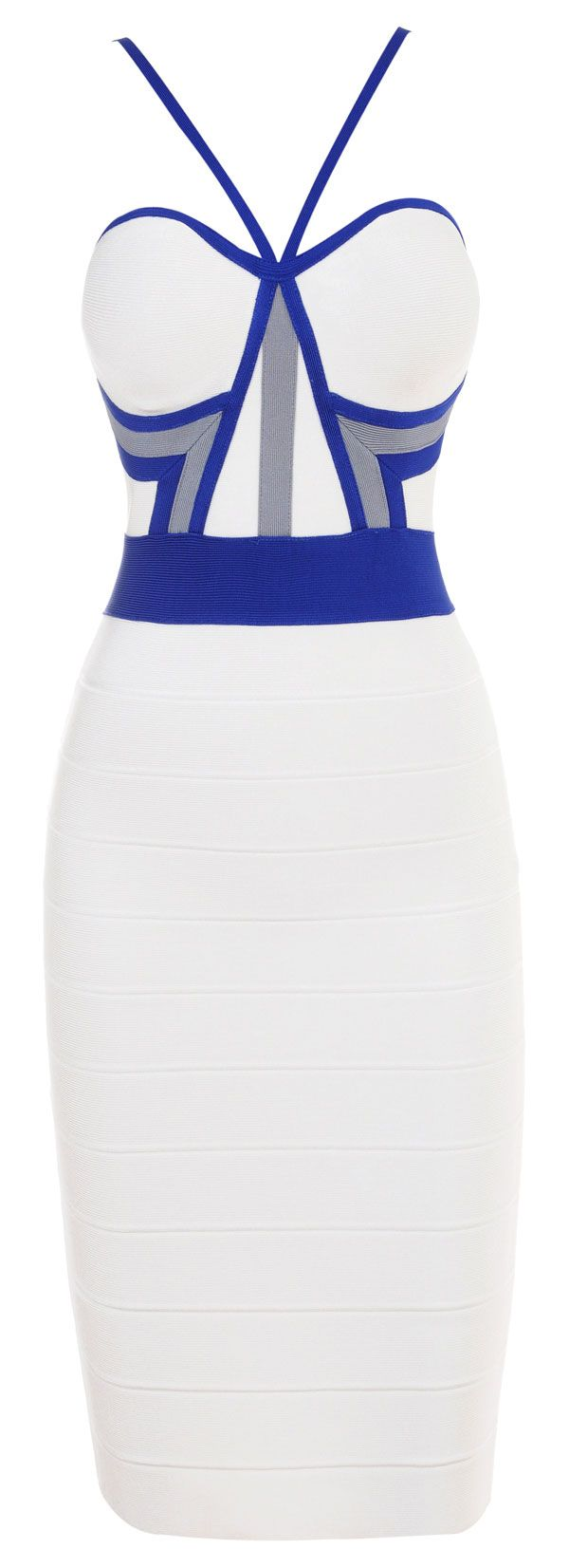 Fab.... 'Gina' White and Blue Pencil Dress