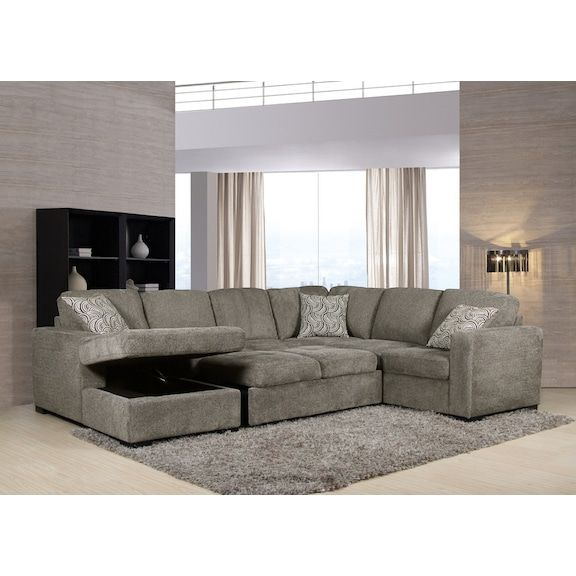 Miraculous Izzy 3 Piece Chenille Left Facing Sleeper Sectional Pewter Inzonedesignstudio Interior Chair Design Inzonedesignstudiocom