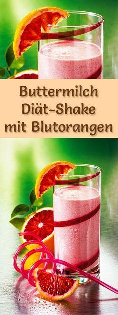Buttermilch-Shake mit Blutorangen - ein Rezept mit viel Eiweiß und wenig Kalorien, perfekt zum Abnehmen, gesund und lecker ...