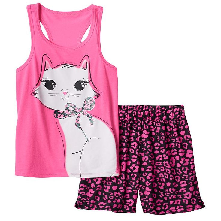 Girls 4-16 SO® Racerback Tank & Shorts Pajama Set, Girl's, Size: Xs (5/6), Brt Pink