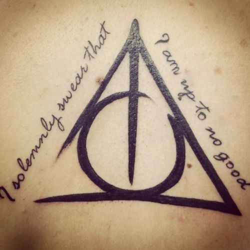"Harry Potter tattoos. The Deathly Hallows symbol and the quote ""I solemnly swear that I am up to no good."""