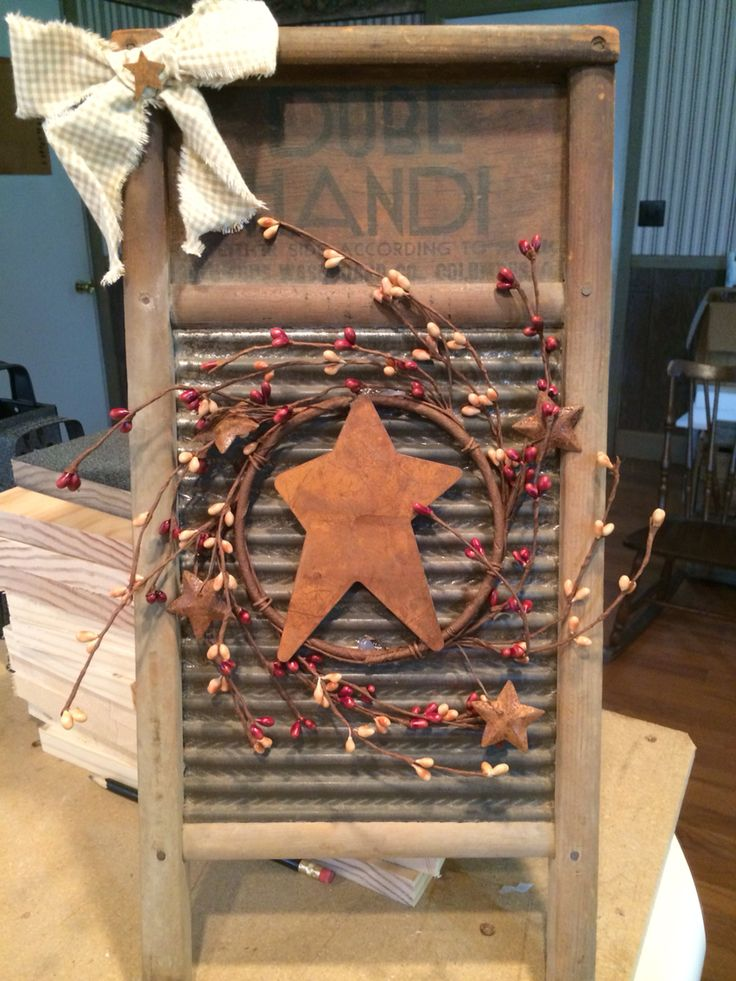 Antique washboard decorated Primitive Country! Check out my FB page. Primitive Panes Antiques & More!!