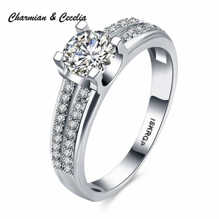 >> Click to Buy << 18KRGP White Gold-color With AAA+ Big Zircon Inlaid and Many Little Zircons Pave Insert Fashion Elegant Wedding Rings #Affiliate