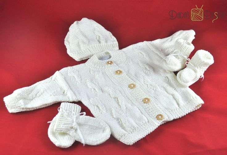 """Strickjacken - Gestrickte Babygarnitur """"Elphi"""", Gr.ca 62-68 weiß - ein Designerstück von DadaH bei DaWanda"""