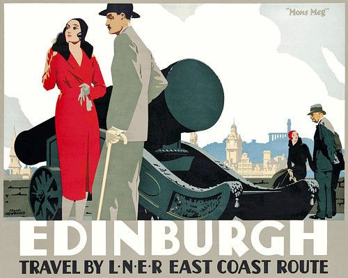 Edinburgh, Scotland. Smart Art Deco travel print. 1930s http://www.vintagevenus.com.au/products/vintage_poster_print-TV824