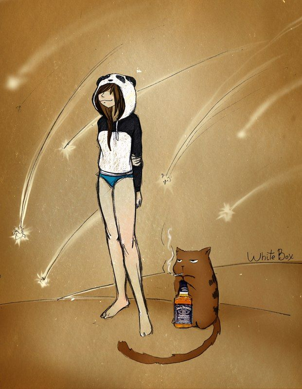 Картинка девочка панда и кот барсик