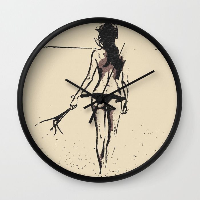 "Bikini Girl - sexy conte, abstract erotic nude, kinky topless brunette at beach, hot slim naked body Wall Clock Available in natural wood, black or white frames, our 10"" diameter unique #Wall #art #Clocks feature a high-impact plexiglass crystal face and a backside hook for easy hanging. Choose black or white hands to match your wall clock frame and art design choice. Clock sits 1.75"" deep and requires 1 AA battery (not included)."