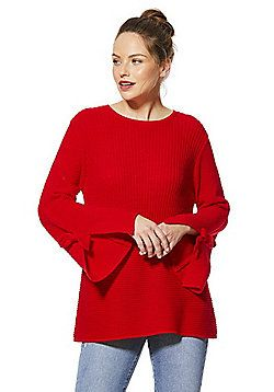 F&F Contrast Ribbed Knit Flute Sleeve Jumper - Red
