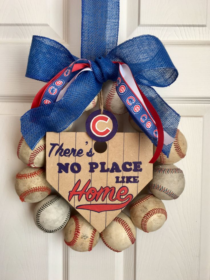 Chicago Cubs Baseball Wreath by DoorsGoneWild on Etsy https://www.etsy.com/listing/500920722/chicago-cubs-baseball-wreath