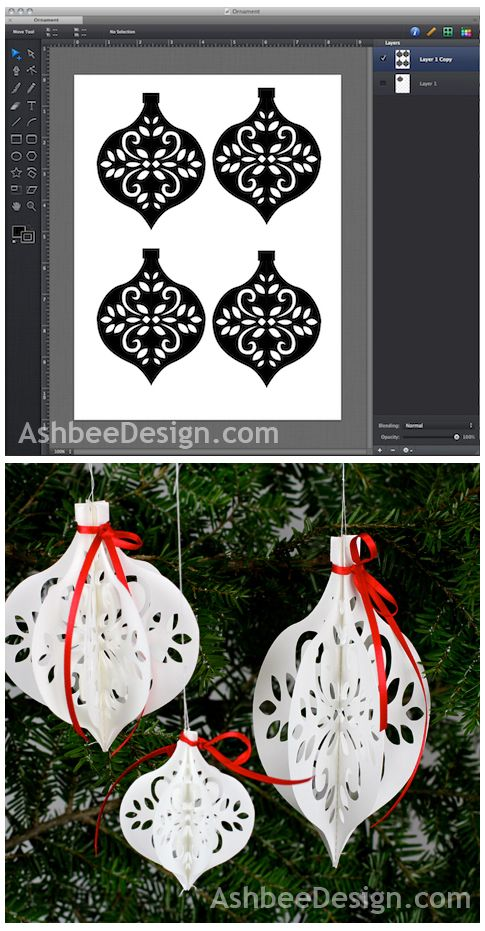 DIY Paper Ornament - from Ashbee Design #Silhouette (There's no free cut file, but these free ornaments would be fun to adapt: http://www.birdscards.com/silver-ornaments/)