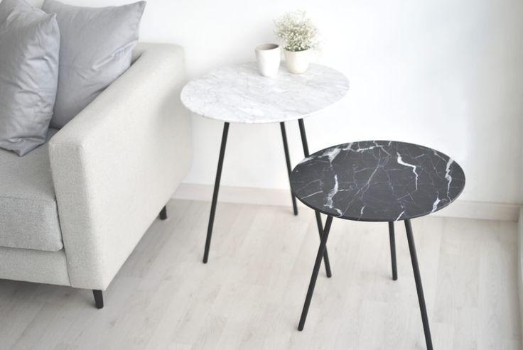 Mesa auxiliar Moray, marmol negro monterrey, marmol blanco bego, capital studio, diseño, minimalista
