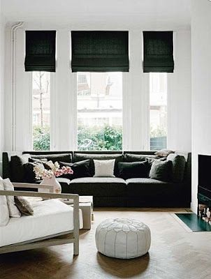 Black Window Shades On White Walls And Couch Find This Pin More Living Room Blinds