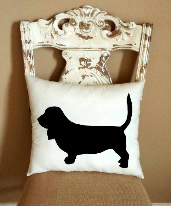 Basset Hound Dog Silhouette Throw Pillow/ by LittleLauraLouCrafts