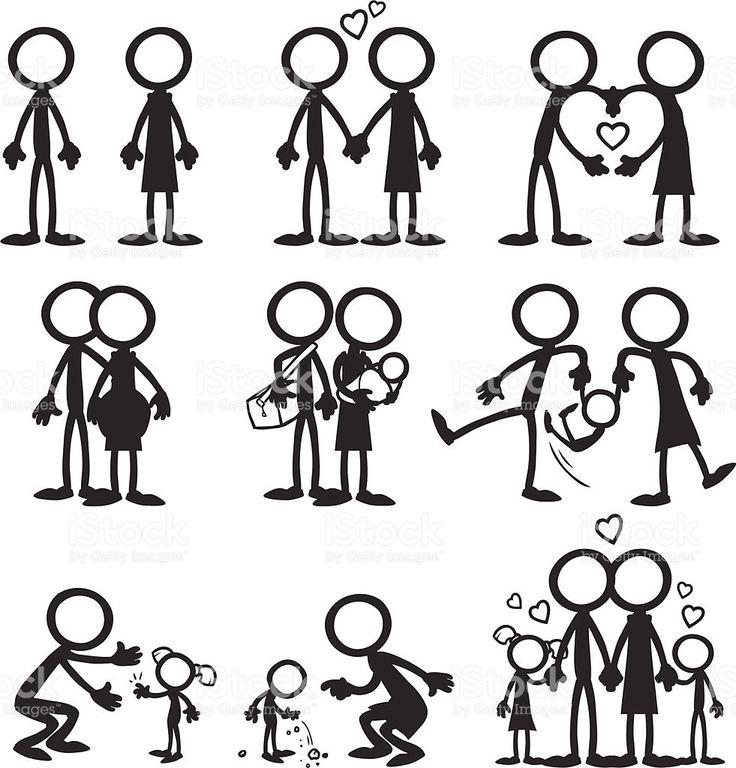 Figura de Palito família Amor download vetor e ilustração royalty-free
