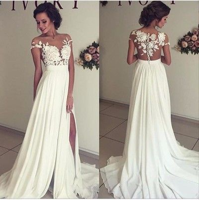 See through wedding dresses, Sexy lace prom dresses, Beach wedding gown, Prom…