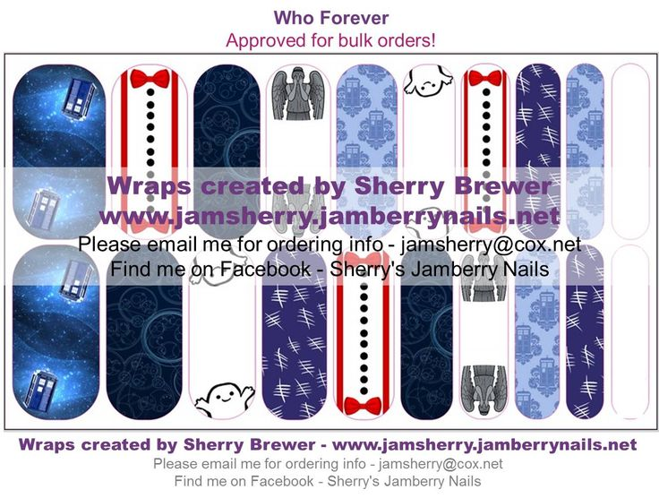 "Doctor Who / Suspenders / Bowtie / Tardis / Adipose / Weeping Angel / Gallifreyan / Tally Marks. ""Who Forever"" Custom Jamberry Nail Art Design"