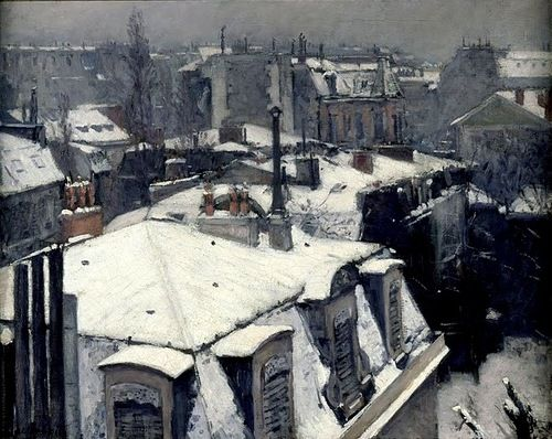 mimbeauParis snowy roofs by Gustave Caillebotte