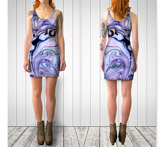 "Bodycon dress ""Purple Black Abstract Marble Pattern - Bodycon Dress"" by Jenny Mhairi"
