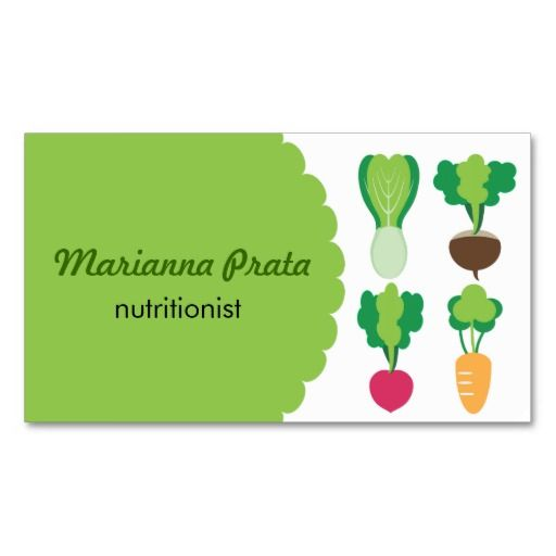 Vegetables Green for Health Farmer or Food Business Cards