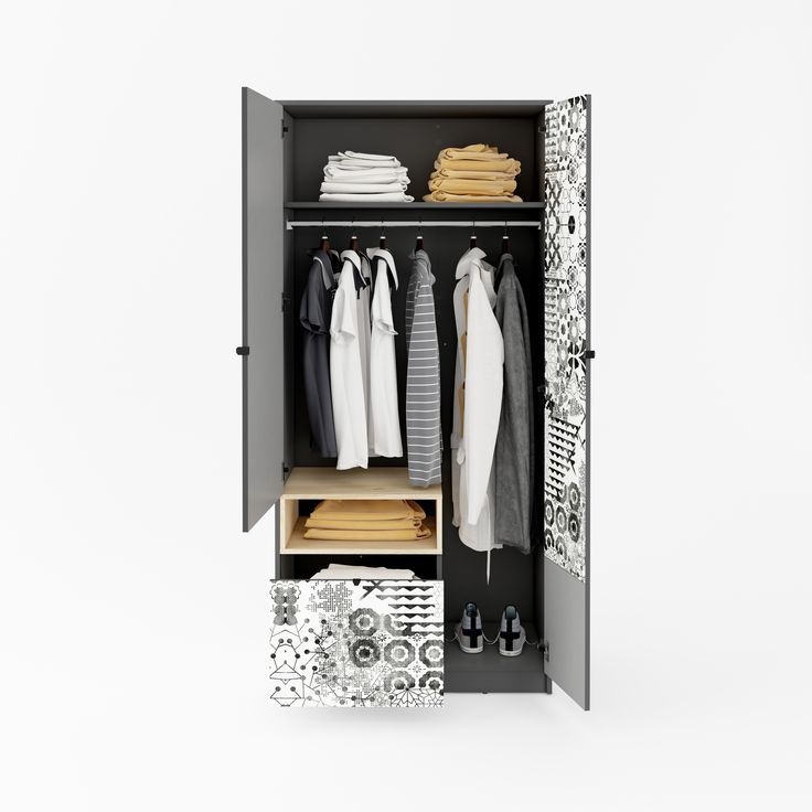 Mała szafa może być także bardzo funkcjonalna! / Small wardrobe can also be very functional! #pok #kidsroom #girlsroom #meble #furniture #pokojdzieci #pokojdziewczynki #grey #szary #kidsinterior #new #nowosc #interiordesign #youth #mlodziezowe #meblemlodziezowe #wnetrzadladzieci #mebledzieciece #dignet #dignetlenart #lenartdesign #wardrobe #szafa