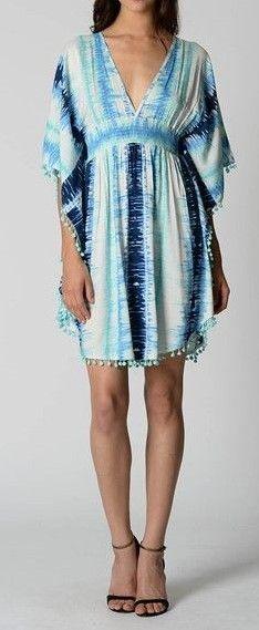Blue & White Kaftan with fringing trim  $35  size 10  (rrp $87)