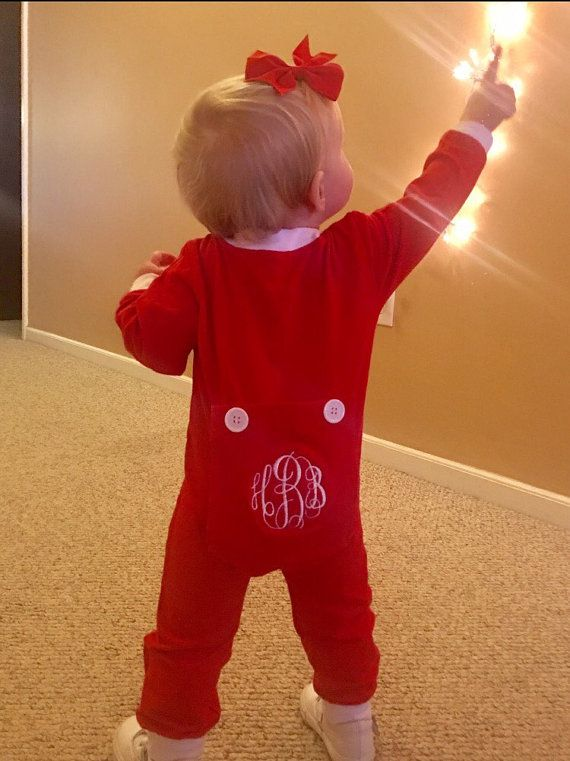 Christmas Monogrammed bottom pjs - Bottom Flap Pjs - Embroidered Drop Seat Pajamas - Red and Green Long John style pjs