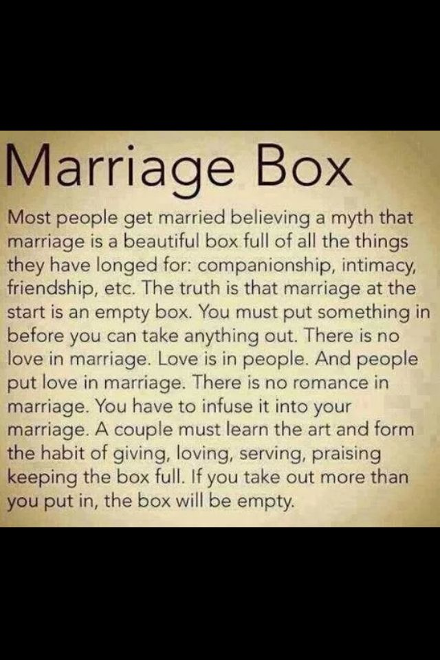 """Marriage Box ❤️ The titles of 'Wife' and 'Husband' are not magical talismans. They are just titles you give to say, """"I choose you and only you for the rest of our lives."""""""