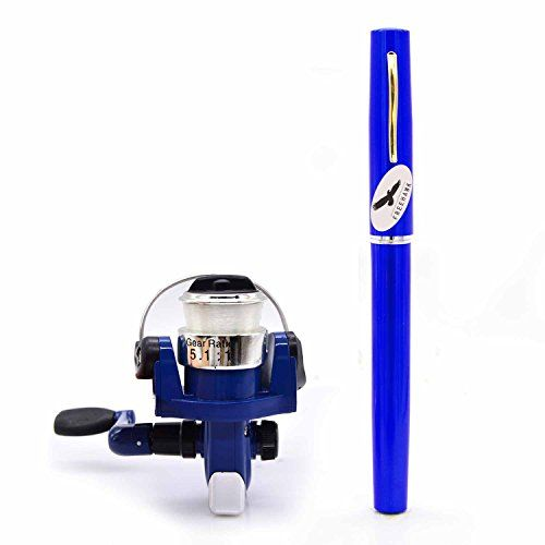 PiscatorZone Pocket Pen Rod Fishing Rod and Reel Combos: Travel Mini Rod/Sea Fishing Rod + #2000 Aluminum Spinning Fishing Reel + Fishing Line-Carbon Fiber Telescopic Lightweight and Compact(Blue):   Portable and very lightweight pocket rod for fishermen to carry outside.br A Perfect gift for people who likes fishing.br Toy rod and reel combos for children and kids.brbr Simple Operation:/bbr 1.Insert the reel foot to the fixing foot of the rod.br 2.Screw down the nut besides the fishin...