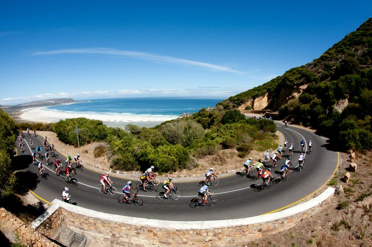 The Cape Argus Cycle Race, (Cape Town, South Africa). It is the World's largest individually timed cycle race. 35000 cyclists from all over the world take part.The Argus covers 109 km of some of the most scenic spots on the planet.