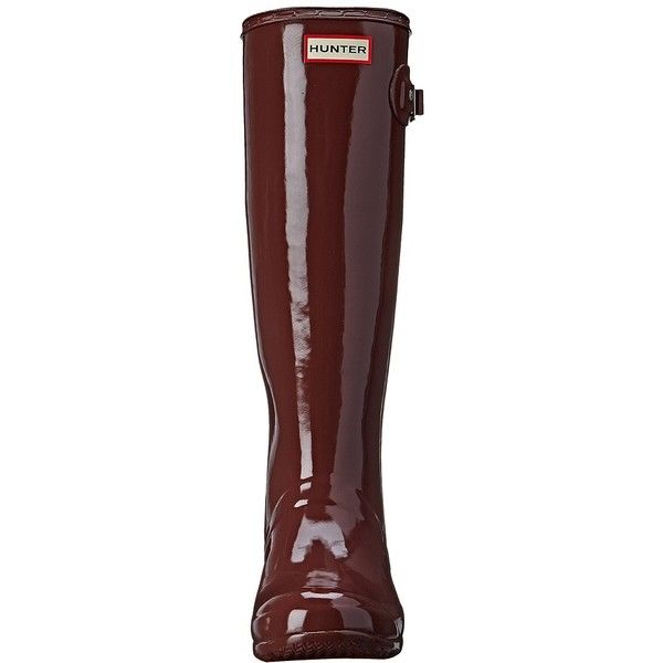 Hunter Original Tour Gloss Women's Rain Boots ($150) ❤ liked on Polyvore featuring shoes, boots, hunter, white boots, rain boots, platform boots, waterproof wellington boots and slip on boots