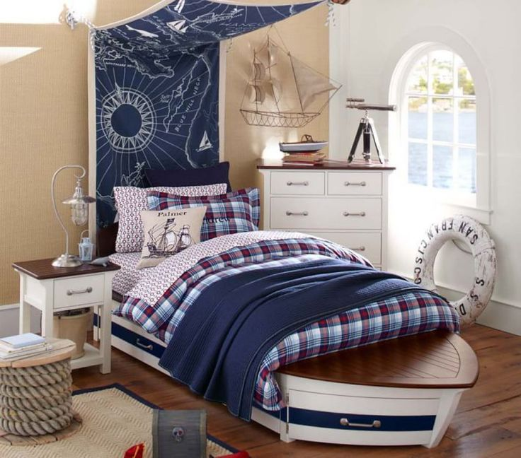 Nautical Boys Bedroom With Boat Bed Frame And Fabric Map As Headboard And Nautical Accessories : Nautical Theme For Your Kids Bedrooom