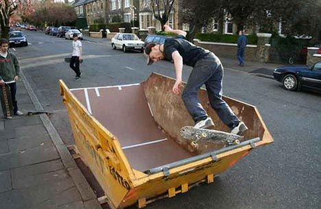Small-scale recycled urban skate park- genius!