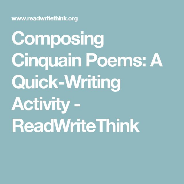 Composing Cinquain Poems: A Quick-Writing Activity - ReadWriteThink