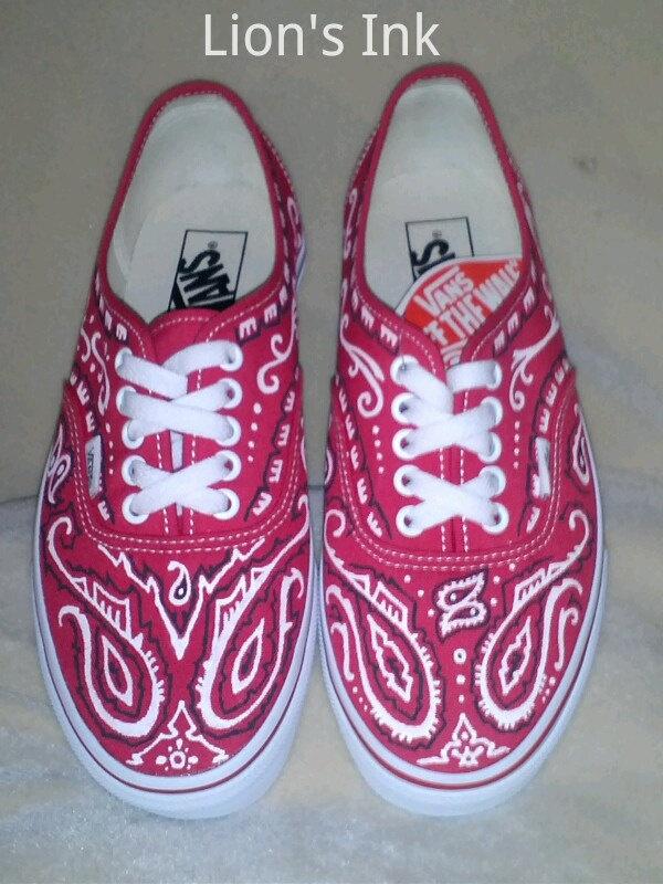 Custom Bandana style Vans Shoes by LiONSiNK on Etsy, $120.00
