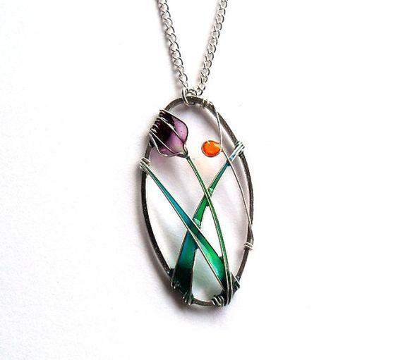 Flower pendant purple tulip oval pendant by ThePurpleBalloon, $25.00: