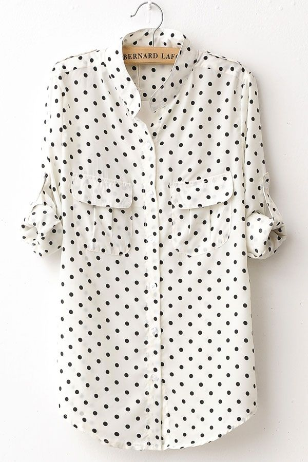 Polka-Dot Print Long Sleeve Shirt <3