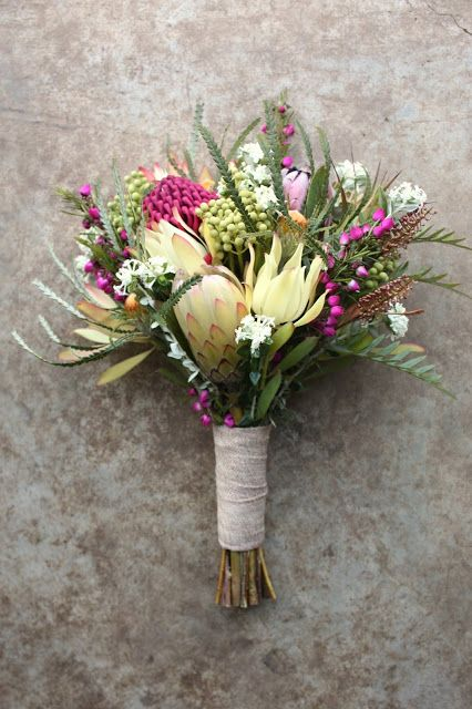 Early Spring Bridal Bouquet with Waratah, Boronia, Dryandra, Protea, Berzelia, and Pimelea. Australian Native Bouquet by Swallows Nest Farm