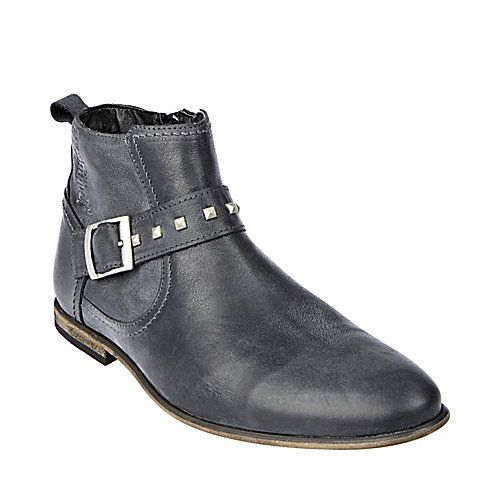 JUSSTICE BLACK LEATHER men's boot casual zipper - Steve Madden