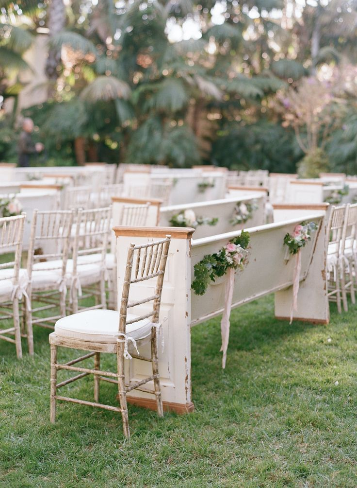 Whitewashed Chairs + Pews -- Outdoor wedding perfection! See the wedding on http://www.StyleMePretty.com/2014/04/01/blushing-black-tie-affair-at-the-four-seasons/ Photography: Elizabeth Messina - kissthegroom.com