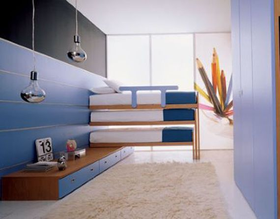 a few bunk bed ideas!  Wish we had the ceiling height for 4!