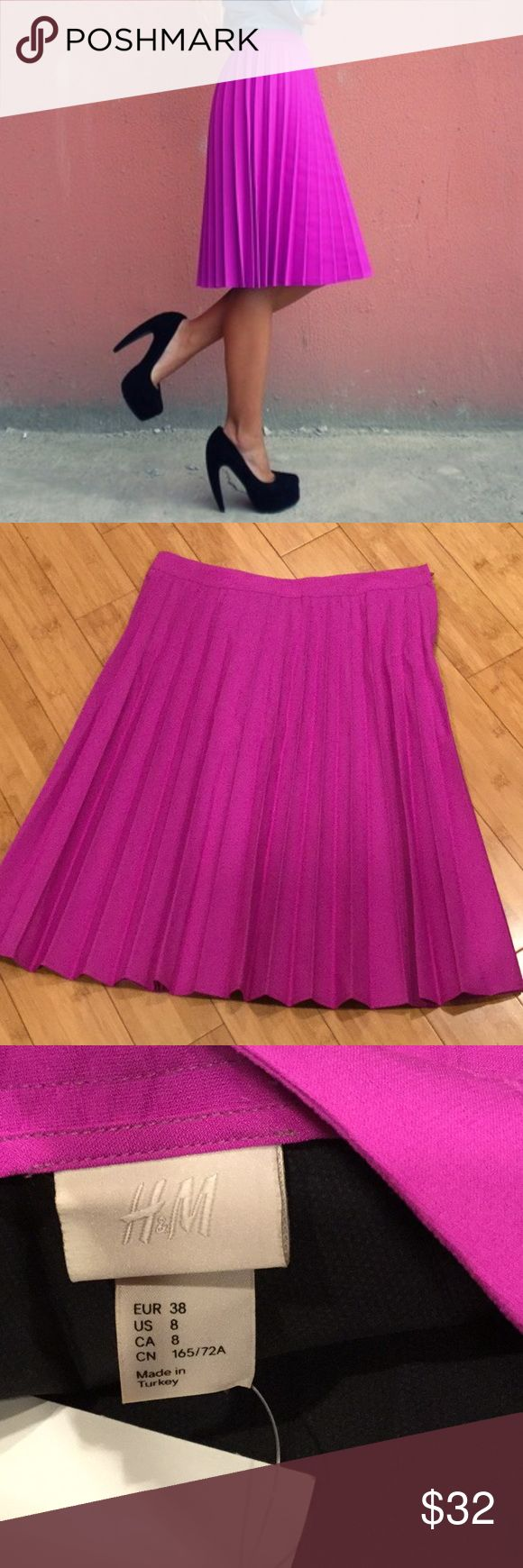 """H&M pleated skirt, Sz 8     NWT Brand new with tags Gorgeous fuchsia color Side zipper Pleated all around Thick polyester material 14"""" waist, 23"""" length Skirts A-Line or Full"""