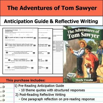 "Get students making ""big picture"" connections with this The Adventures of Tom Sawyer anticipation guide and reflective writing."