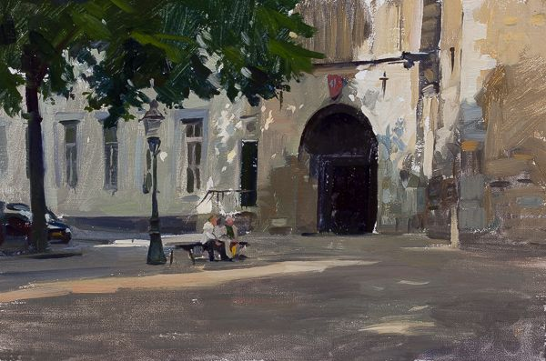 Marc Dalessio - The End of Saturday's Shopping 20 x 30 cm, Oil on Linen  Paintings from a Weekend in Maastricht