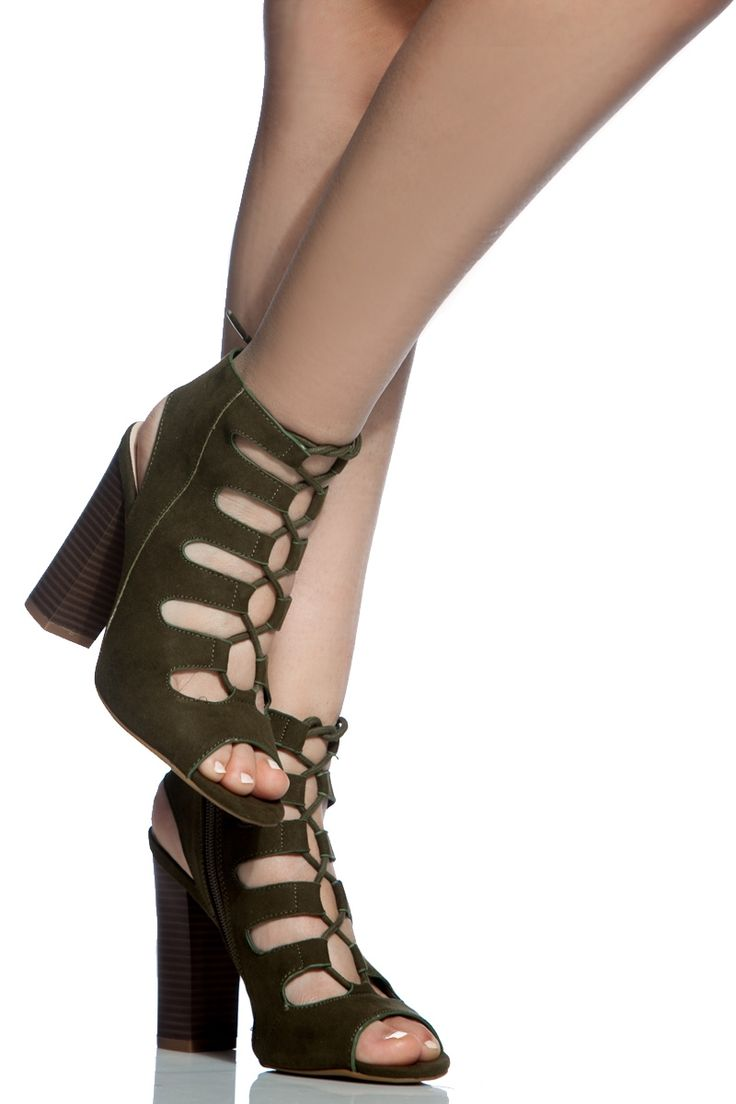Buy Olive Faux Suede Chunky Lace Up Booties with cheap price and high  quality from Cicihot.Our booties shoes look great with any look!