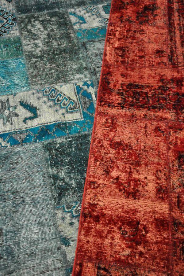 Our Vintage Patchworks are pieced together from vintage rugs sourced from Iran and bordering countries.